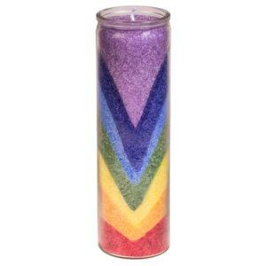 Rainbow Valley Candela in stearina, 100% naturale, contenitore in vetro riciclato. Profumo a base di oli essenziali: Cedro, Abete bianco e Rosmarino.