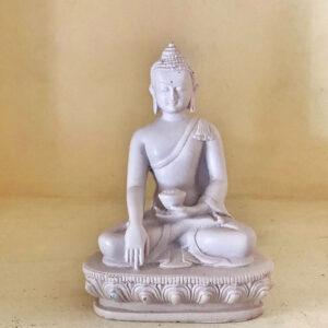 Buddha Sakyamuni Bianco in Gesso