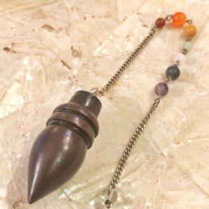Pendolo Legno di Rosa 7 chakra
