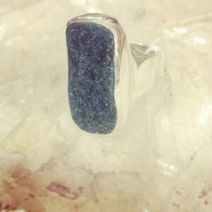 Anello Arg 925 drusa Malachite grezza