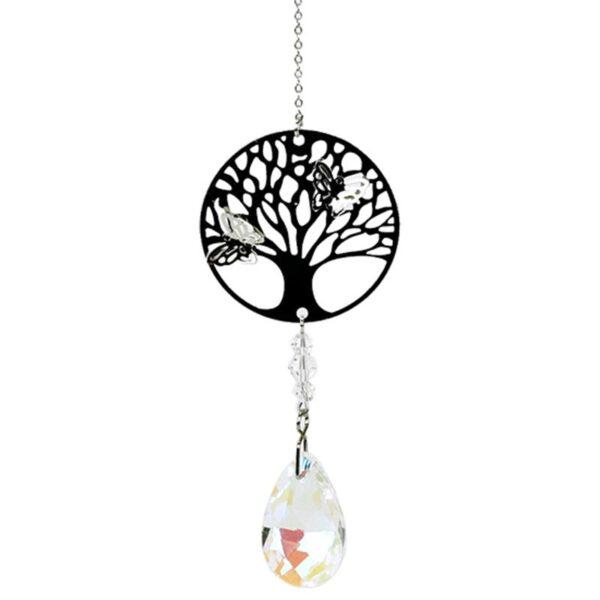 Suncatcher Albero della vita con cristallo e goccia arcobaleno bianca
