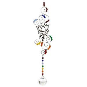 Suncatcher Loto con cristallo e colori dei 7 chakra