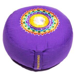 Cuscino da Meditazione 7° chakra Sahasrara mandala colorato