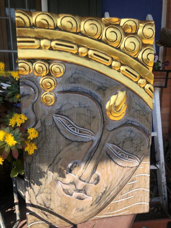 Pannello viso di Buddha 40x60 noce e oro